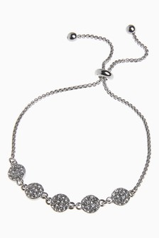 Plated Jewelled Disc Pully Bracelet