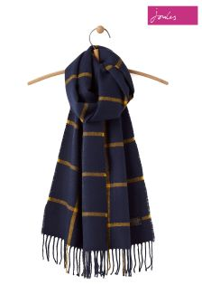 Joules French Navy Check Soft Handle Scarf