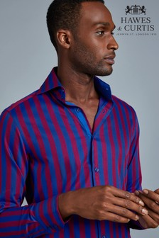 Hawes & Curtis Mens Red/Navy Stripe Shirt