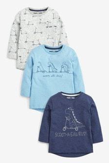מארז 3 חולצות טי ארוכות Scootasaurus (3 חודשים-7 שנים)