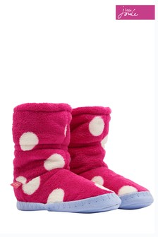 Joules Raspberry Rose Spot Fleece Lined Slipper Sock