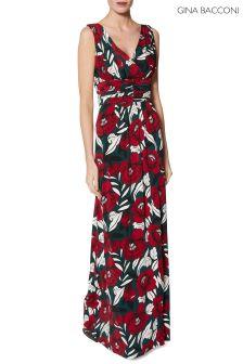 Gina Bacconi Green Marley Print Jersey Maxi Dress