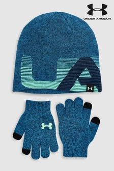 Under Armour Blue Hat And Gloves Set