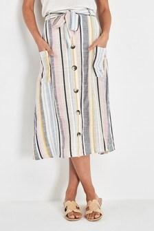 Stripe Pocket Button Skirt