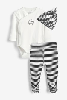 Three Piece Hat, Leggings And Bodysuit Slogan Set (0-9mths)