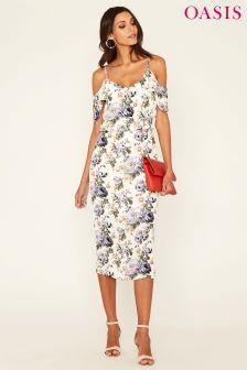 Oasis Natural Rose Column Midi Dress