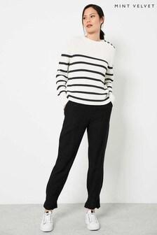 Mint Velvet Black Bow Hem Trousers