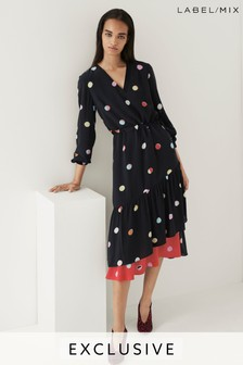 Next/Mix Polka Dot Ruffle Dress