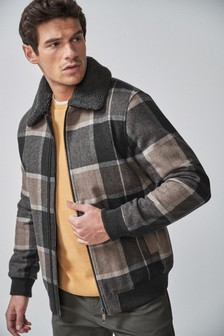 Wool Blend Borg Collar Jacket