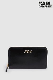 Karl Lagerfeld Black/Gold Signature Around Wallet