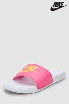 Nike White/Pink Benassi