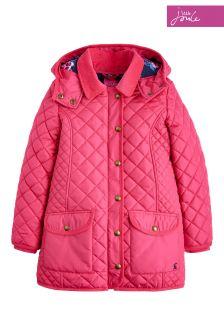 Розовая стеганая куртка с капюшоном Joules Newdale