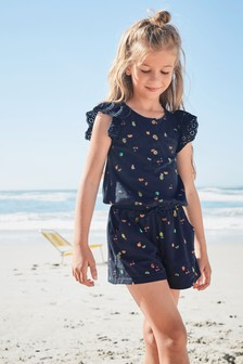 Broderie Playsuit (3-16yrs)