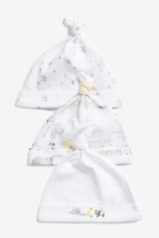 3 Pack GOTS Organic Cotton Watercolour Embroidered Tie Top Hats (0-12mths)
