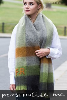 Personalised Felted Check Winter Blanket Scarf by Studio Hop