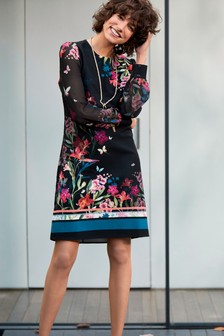 Floral Border Print Sheer Sleeve Dress