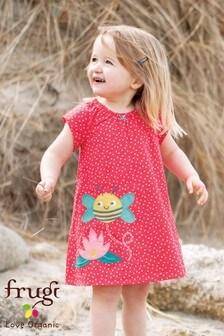 Frugi Organic Red Spot Bee Appliqué Dress