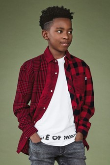 Long Sleeve Buffalo Check Spliced Shirt With Printed T-Shirt (3-16yrs)