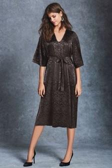 Floral Jacquard Belted Midi Dress