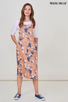 White Stuff Coral Yuki Linen Pinafore Dress