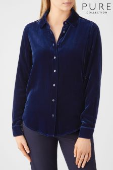 Pure Collection Midnight Silk Velvet Shirt