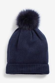 カシミア混ポンポン付き帽子