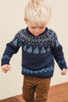 High Neck Fairisle Pattern Jumper (3mths-7yrs)