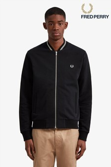 Fred Perry Black Bomber Sweatshirt