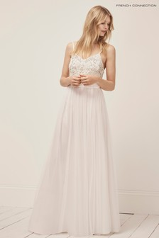 French Connection White Embroidered Maxi Dress