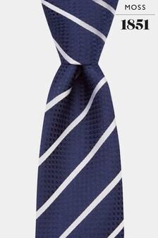 Moss 1851 Navy/Silver Stripe Tie