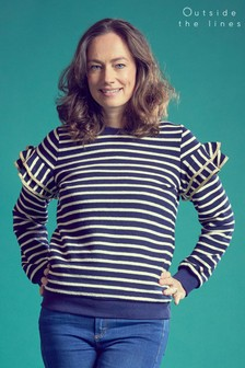 Outside The Lines Navy Stripe Ruffle Sleeve Sweater