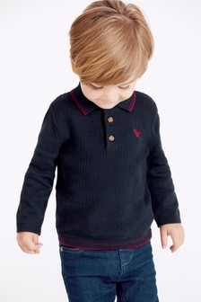 Knitted Textured Long Sleeve Poloshirt (3mths-7yrs)
