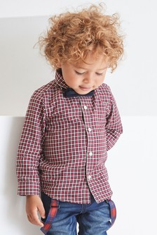 Long Sleeve Gingham Shirt And Bow Tie Set (3mths-7yrs)