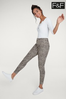 F&F Brown Leopard Print High Waisted Jean