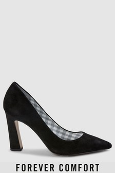 Forever Comfort Leather Point Block Heels