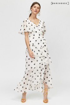 Warehouse Black Spot Ruffle Wrap Dress