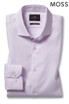 Moss London Skinny Fit Pink Single Textured Stretch Shirt