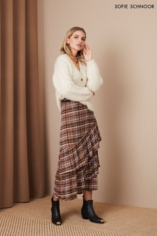 Sofie Schnoor Brown Check Ruffle Midi Skirt