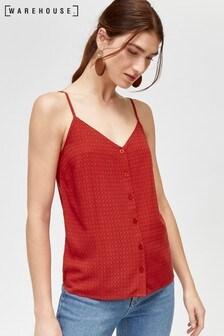 Warehouse Red Textured Button Through Cami