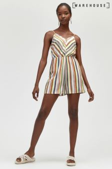 Warehouse Yellow Candy Stripe Playsuit