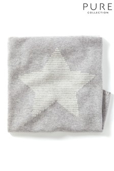 Pure Collection Grey Cashmere Baby Cable Blanket