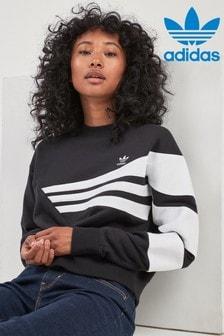 Top de cuello redondo corto negro/blanco Soft Vision de adidas Originals