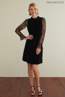 Gina Bacconi Black Pricilla Lace Sleeve Velvet Dress