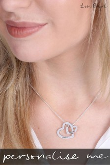 Personalised Linked Heart Necklace by Lisa Angel