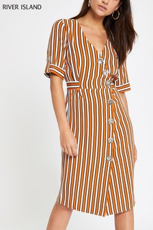 River Island Orange Stripe Button Midi Dress