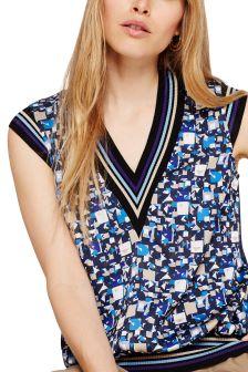 Damsel In A Dress Blue Fran Sleeveless Printed Blouse