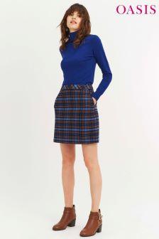 Oasis Mid Blue Check Poppy Skirt