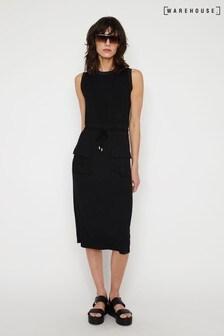 Warehouse Black Utility Drawstring Midi Dress