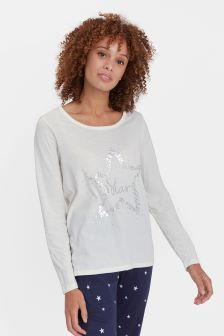 Joules Cream Aubree Graphic Jersey Top