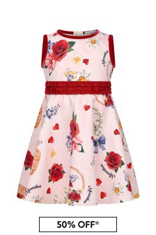 Monnalisa Baby Girls Pink Floral Print Dress